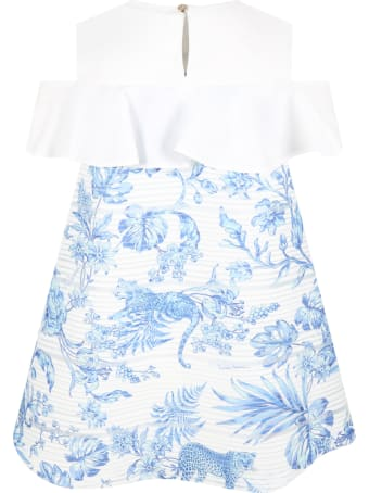 Roberto Cavalli White Dress For Girl With Flowers