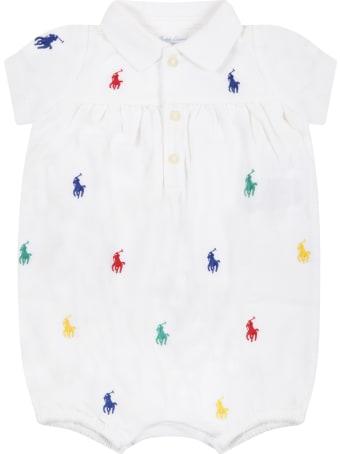 Ralph Lauren White Romper For Baby Girl With Pony Logos