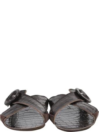 Definery Brown Loop Cross Sandals