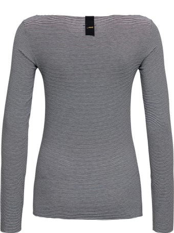 Merci Long-sleeved Grey T-shirt With Boat Neck