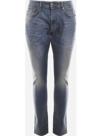 REPRESENT Slim Fit Stretch Cotton Jeans With A Faded Effect