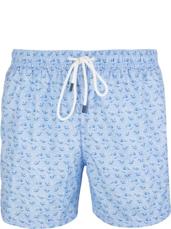 Fedeli Light Blue And Blue Whale Madeira Man Swimsuit