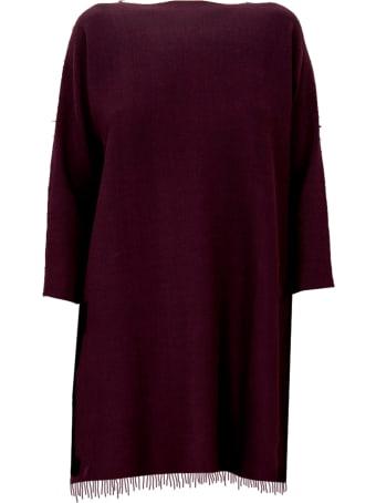 Archiviob Basics Crew Neck L/s Dress W/fringes On Bottom