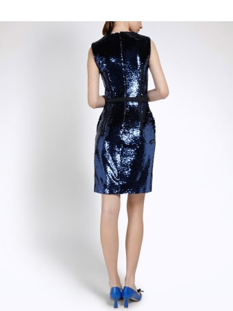 Genny Black And Blue Duble-face Sequined Bodycon Dress