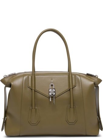 Givenchy Antigona Soft Lock Handbag In Black Leather
