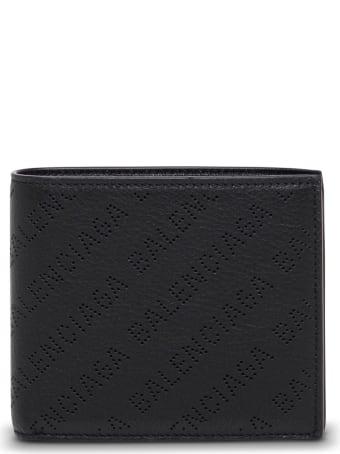 Balenciaga Black Leather Wallet With Logo