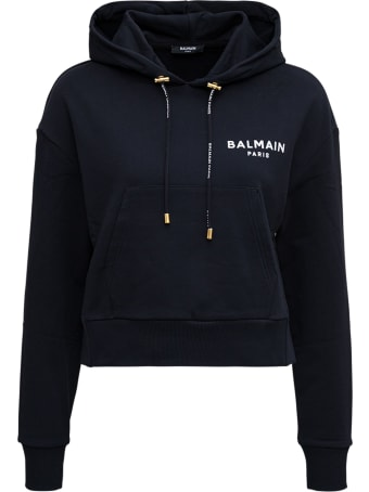 Balmain Cropped Black Hoodie With Flocked Logo