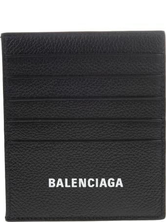 Balenciaga Black Crocodile Effect Leather Card Holder With White Logo