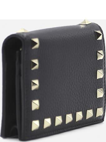 Valentino Garavani Small Rockstud Wallet In Grained Leather