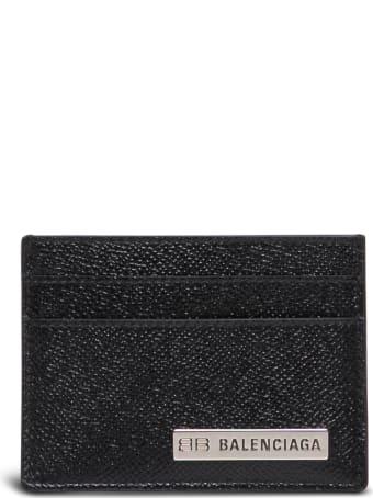 Balenciaga Black Leather Card Holder With Logo