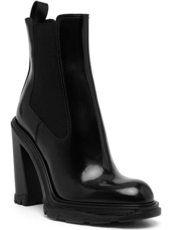 Alexander McQueen Treadonly Black Leather Boots