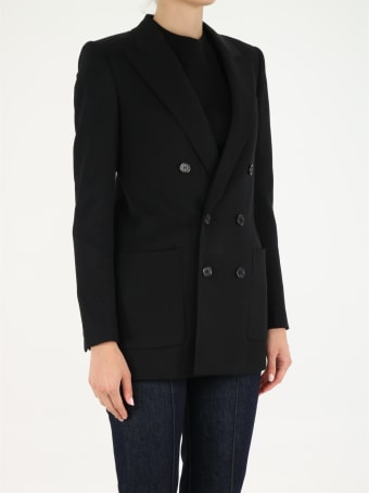 Saint Laurent Double-breasted Jacket In Wool Twill