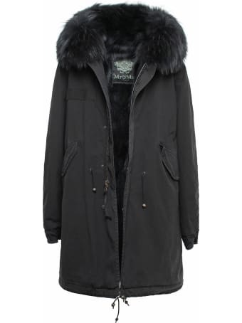 Mr & Mrs Italy Black Parka Patch Fox Raccoon Fur