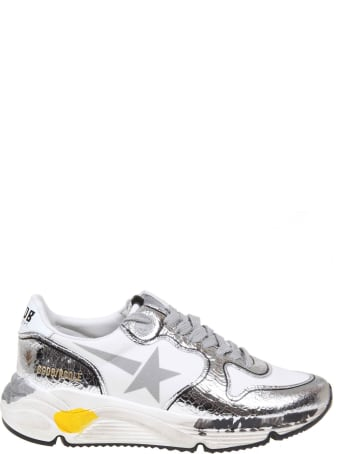 Golden Goose Sneakers Running Sole In Silver Laminate