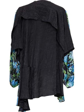 Balenciaga Wrap Baby Doll Floral Silk Twill Dress