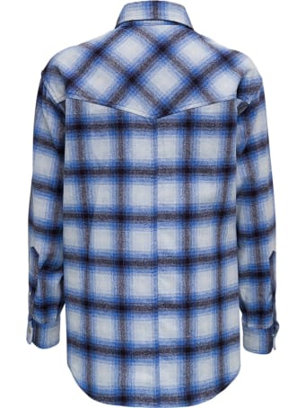 Isabel Marant Étoile Marcelia Blue Check Wool Shirt