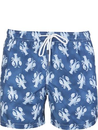Fedeli Blue And Light Blue Lobster Madeira Man Swimsuit
