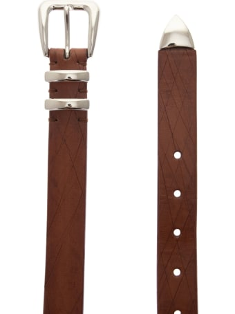 Brunello Cucinelli Leather Scratched Belt With Tip