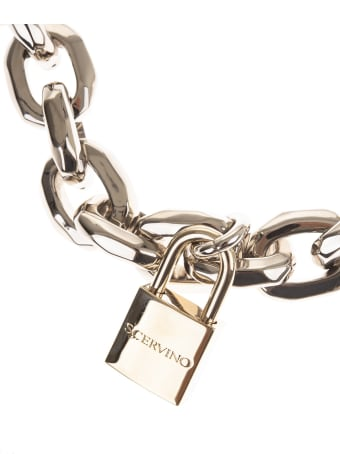 Ermanno Scervino Chain Necklace With Logoed Padlocks