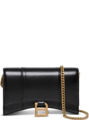 Balenciaga Hour Wallet W/chainin Shiny Box Calf Ag