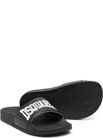 Dsquared2 Black D2kids Boxer Logo Slippers