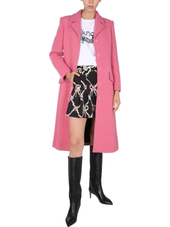 Boutique Moschino Single-breasted Coat With Waist Belt