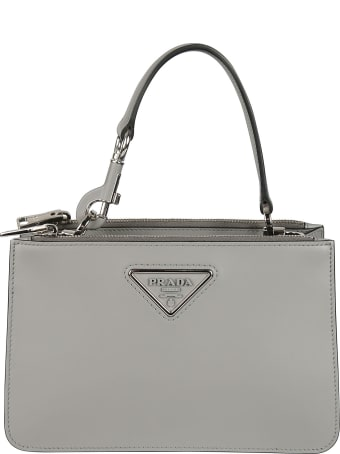 Prada Dual Top Zip Logo Plaque Shoulder Bag