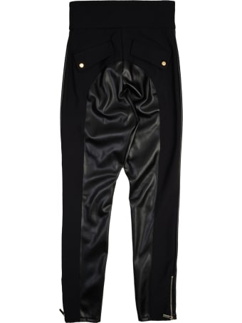 Elisabetta Franchi Faux Leather Equestrian Style Trousers
