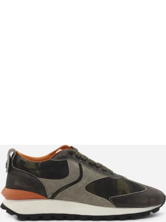 Voile Blanche Qwark Sneakers In Leather With Contrasting Inserts