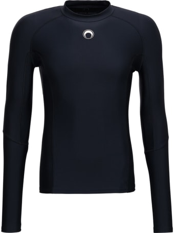 Marine Serre Training Long Sleeved T-shirt In Recycled Stretch Fabric With Logo