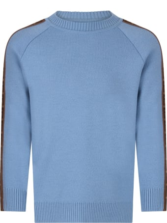 Fendi Light Blue Sweater With Double Ff For Boy