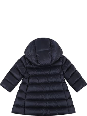 Moncler Blue ''majeure'' Jacket For Baby Girl With Patch