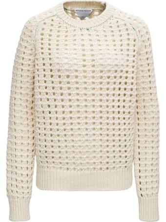 Bottega Veneta Open Mesh Sweater In Ivory Colored Wool