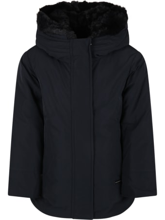Woolrich Blue Jacket For Kids With Patch Logo