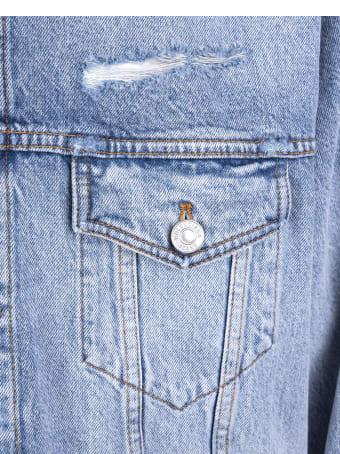 Balenciaga Unisex Light Blue Large Fit Barcode Jacket