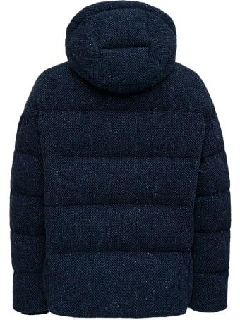 doppiaa Quilted Down Jacket In Blue Herringbone Wool