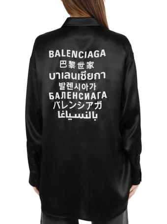 Balenciaga Black Languages Blouse