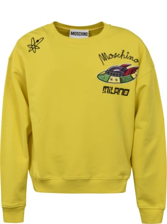 Moschino Logo Patched Ribbed Sweatshirt