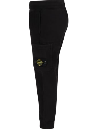 Stone Island Junior Black Sweatpant For Boy With Iconic Compass