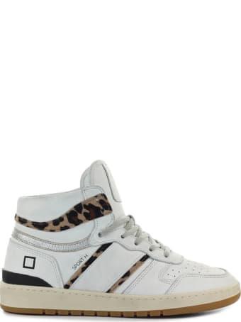 D.A.T.E. Sport High Vintage Calf White Leopard Sneaker
