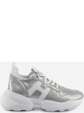 Hogan Interaction Sneakers In Leather With Pearly Finish