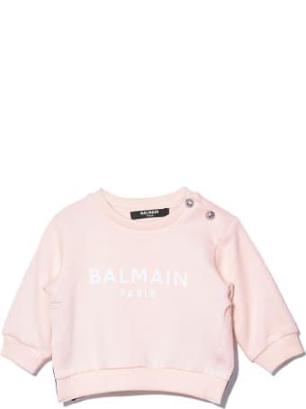 Balmain Pink Cotton Sweatshirt