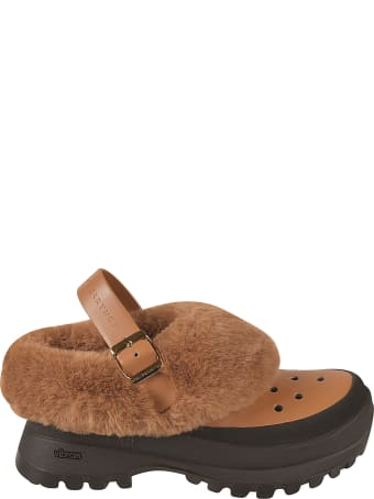 Stella McCartney Slingback Side Buckle Fur Detail Sandals