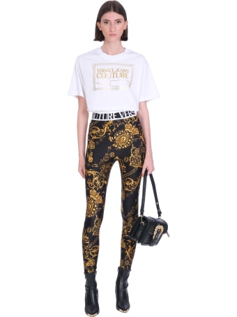 Versace Jeans Couture Leggins In Black Polyamide