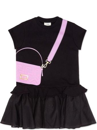 Fendi Black Organza And Fleece Junior Dress