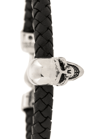 Alexander McQueen Man Black And Silver Skull Bracelet In Braided Leather