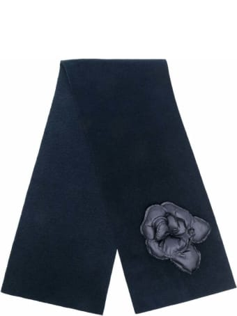 Il Gufo Blue Viscose Blend  Scarf  With Flower Detail