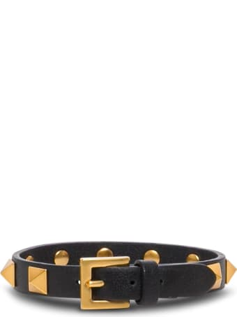 Valentino Garavani Black Leather Bracelet With Studs
