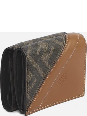 Fendi Fendi Tri-fold Fabric & Leather Wallet