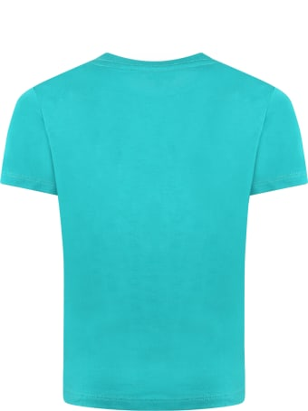 Paul Smith Junior Green T-shirt For Boy With Dino